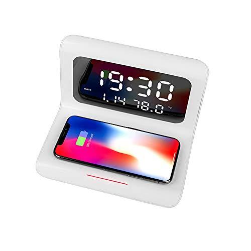 Shenjia Digitaler Wecker mit kabellosem Aufladen und LED-Temperaturanzeige, 10 W, Qi, kabellose Ladestation für iPhone 11, XR, XS, X, 8, Galaxy S10, S9, S8, Note 10, Note 9 und mehr weiß