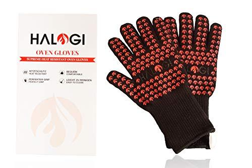 Halogi Hitzebeständige Grillhandschuhe, Ofenhandschuhe, Pizza Handschuhe, Kochhandschuhe, Handschuhe hitzebeständig bis 800 °C XXL