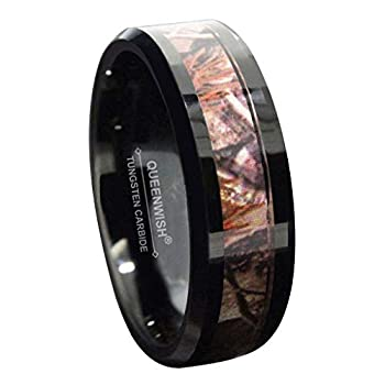 Queenwish 6mm /8mm Black Tungsten CamoWeddingRingsforMen & Women Hunting Camouflage Inlay Engagement Couples Jewelry Band Beveled Edges Comfort Fit