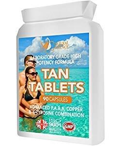 Bräunungs-Tabletten für GESUNDE TAN - 90 Kapseln bieten vollen Kurs - sichere Laborformel - Gebrauch mit oder ohne Sonne - vorgerückte PABA Vitamin E-Formel - für einen gesunden goldenen Schein