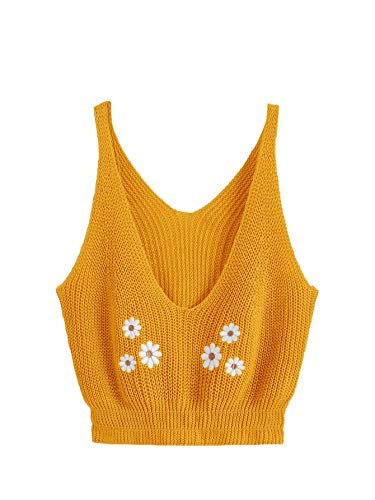 SweatyRocks Women's V Neck Spaghetti Strap Cami Tank Top (Small, Yellow)
