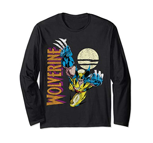 Marvel X-Men Wolverine Claws Out Action Shot Long Sleeve T-Shirt