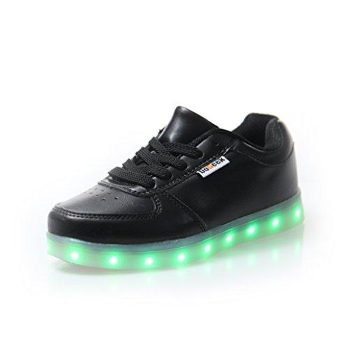 DoGeek Zapatos Led Niños Niñas 7 Color USB Carga Deportivas De Luces Zapatillas Led (Elegir 1 tamaño más Grande)