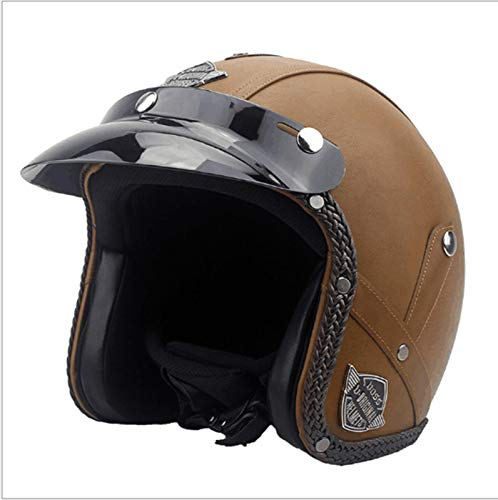 ABDOMINAL WHEEL Cascos Half-Helmet,Casco Moto Jet Abierto Visera Solar extraíble,Retro Casco De Moto Abierto para Mujer Hombre, Casco Astronauta para Electrico Scooter ECE Certificado E,L=59~60CM