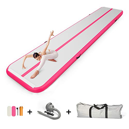 86 York Inflatable Gymnastics Mat 20 ft Air Track Tumbling Mat with Electric Pump for Practice Tumbling,Parkour, Home Floor and Martial Arts 6x2x0.2m Pink