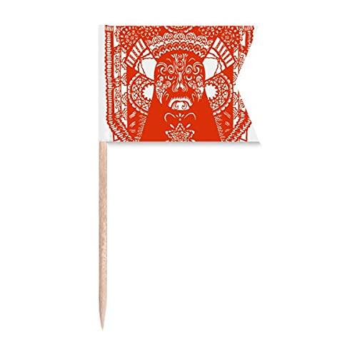 Rote Peking Opera Papierschnitt Gesichtskopf Zahnstocher Flaggen Markierung für Party Kuchen Lebensmittel Käseplatte