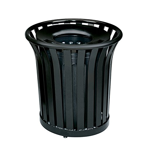 Rubbermaid Commercial Americana Open-Top Trash Can with Rigid Plastic Liner, 36 Gallon, Black, FGMT32PLBK