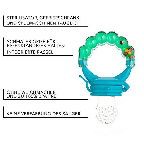 Baby Fruchtsauger Schnuller für Obst und Gemüse – Aus Premium Silikon zu 100% BPA-frei – Fruchtschnuller Set (Blau) - 3