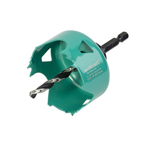 Wolfcraft 5966000 sierra de corona de acero al carbono para planchas de placa de yeso, profundidad de corte 30 mm PACK 1, 0 V, turquesa, 30 x 60 mm