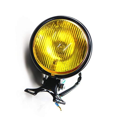 5 zoll Motorrad Scheinwerfer Kopf Lampe Licht für Cafe Racer Vintage Retro Bobber CB Alte Schule Benutzerdefinierte (Schwarz/Bernstein)