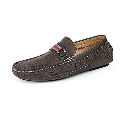 Bruno Marc Men's Santoni-05 Grey Penny Loafers Moccasins Shoes Size 14 M US
