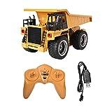 FHDD Camión volquete RC 1:18 2.4G 6CH RC Metal volquete camión de volteos 4 Ruedas Máquina Realista volcado Cargando Juguetes de vehículos para niños