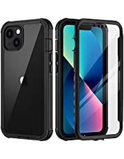 seacosmo iPhone 13 Case, [Built-in Screen Protector] Full Body Clear Bumper Phone Case Rugged Shockproof Protective Case Cover for iPhone 13, Black
