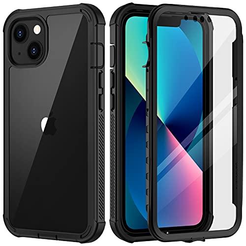 seacosmo Coque iPhone 13 2021, Antichoc Housse Full Body Protection Étui [avec Protecteur d écran], Bumper Portable Robuste Transparent Intégrale Coque pour iPhone 13 6,1 Pouces - Noir