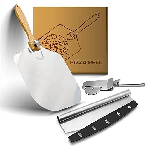 Eirdary Pizza Peel Tools Set, Aluminum Metal Pizza Peel 12'x14' with...