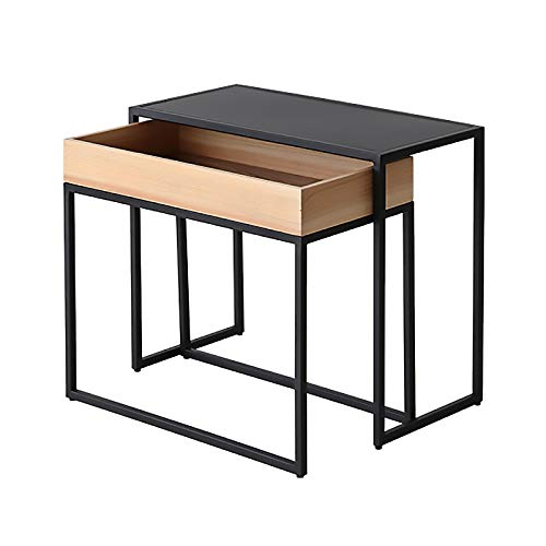 ZRN Black Nesting of 2 Tables High Gloss Coffee Table Multi-function Living Room Wood Sofa Side End Tables for Office Furniture