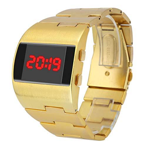 Yivise Relojes para Hombre Fresco Moda Guapo Ancho Dial Steel Belt Sport Monocromo Digital Reloj de Pulsera(D)
