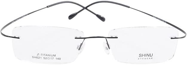 SHINU Titanium Frame Glasses Prescription Lens Eyeglasses Metal Rimless Rxable-SH021