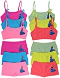 ToBeInStyle Girl's Pack of 6 Set of Spaghetti Strap Bras and Boyshorts or Bikinis - Dancing Princess in Blue Dress - Medium