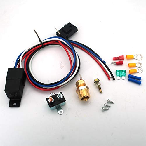 CENTAURUS 175-185 Degree Electric Cooling Fan Thermostat Kit Temp Sensor Thermostat Temperature Switch 40 50 60 AMP Relay Kit
