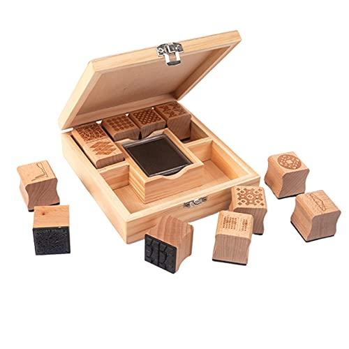 [RADISSY]木製スタンプ 12個セット スタンプ台付き ケース付き ゴム印 クリエイティブスタンプセット 北欧 デザイン 幾何学模様 手帳
