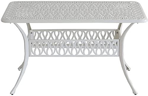 ガーデンテーブル 庭 テラス アンティーク 長方形 大型 6人 アルミ アイボリーホワイト