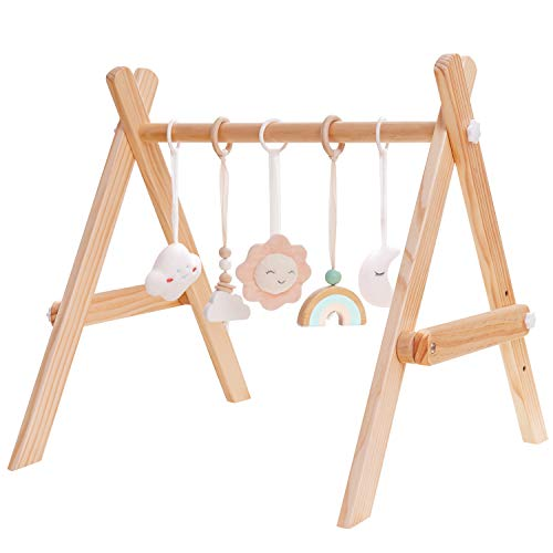 Crisschirs Wooden Baby Gym with 5 Wooden Baby Teething Toys Adjustable Baby Gym Baby Play Gym Frame