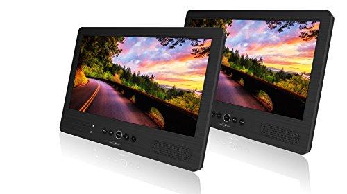 Reflexion DVD1052 Twin Monitor mit 25,7 cm (10,1 Zoll) DVD-Player (Auto Kopfstützenmontage, Autoreiseset, USB, SD/MMC, Kopfhörerausgang, Fernbedienung, 12V Adapter) schwarz