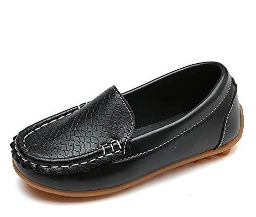 Amitafo Unisex-Kinder Mokassins Weiches Leder Halbschuhe Jungen Mädchen rutschfest Loafers Slipper Flache Lauflernschuhe Bootsschuhe Oxfords/Schwarz 33 EU=Herstellergröße: 34