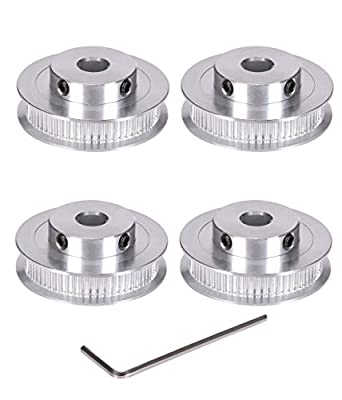 BZ 3D GT2 60Teeth Bore 8mm Timing Pulley Synchronous Wheel Aluminum for Width 6mm 3D Printer Parts (Pack of 4pcs) (60Teeth Bore 8mm)