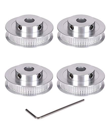 BZ 3D GT2 - Puleggia dentata in alluminio con ruota sincrona da 8/5 mm, per stampanti 3D di larghezza 6 mm, confezione da 4 pezzi.(Foro 60 denti: 8 mm)