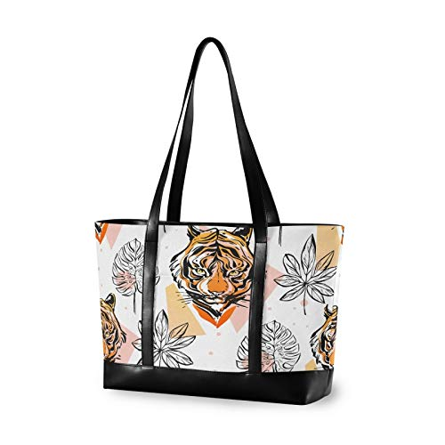 Abstract Tiger Face Khaki 15.6 Inch Laptop Tote Bag For Womens Large Tote Bag Lightweight Shoulder Bag Multi-Pocket Canvas + Leather Business Work Office Briefcase for Computer