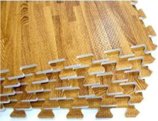 We Sell Mats Printed Interlocking Foam Tiles, Wood Grain, Faux Hardwood Flooring, Anti-Fatigue Support for Home, Office, or Indoor Gym Use, 24