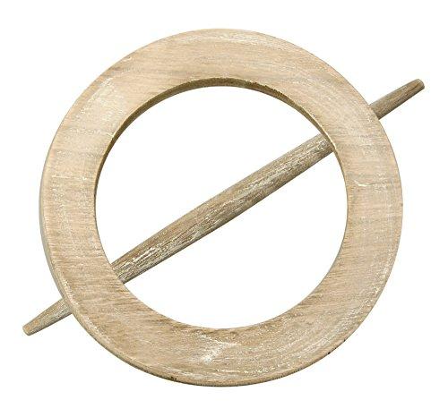 Raffhalter Gardinenspange aus Holz, rund mit separatem Stift, Farbe wählbar (Sand)