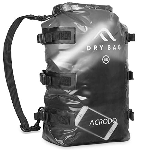 Acrodo Floating Waterproof Dry Bag Backpack - 15 Liter Outdoor Rucksack for Tactical, Survival, Camping & Hiking, Strong & Durable Bug Out Bags & Bagpack for Prepping & Waterproofing Supplies…