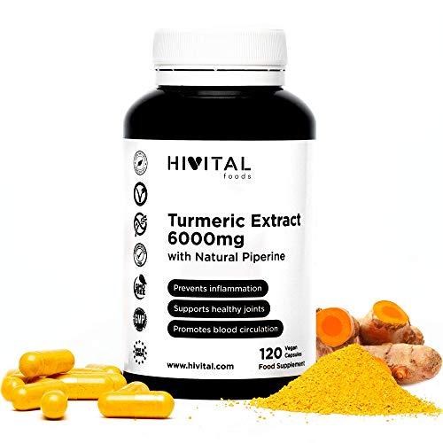 Curcuma Extrait concentrée 6000 mg avec 285 mg de Curcumine et Poivre Noir | 120 gélules végétales | Antioxydant puissant pour la santé cardiovasculaire et des articulations