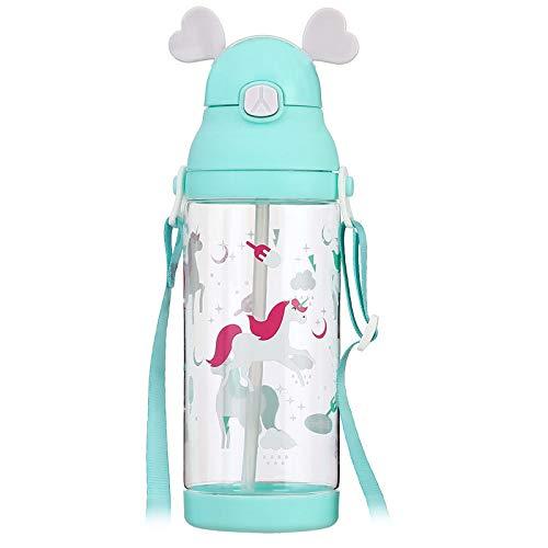 J Auslaufsicherer und tropfenfester Strohbecher für Kinder mit großer Kapazitätmit Riemen, mit Bounce-Cap-BPA-frei 580ml / 20oz