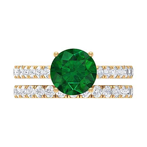 Conjunto único de anillos de novia, piedras preciosas redondas de 3 quilates, diamante HI-SI esmeralda de 8 quilates difusa, anillo de oro solitario, banda de eternidad, 14K Oro amarillo, Size:EU 52