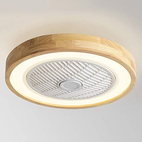 CAGYMJ Moderno Ventilador Techo Iluminación LED,Control Remoto Velocidad Viento Ajustable Atenuación Ultra Silencioso Lámpara Techo,Dormitorio Sala,Round