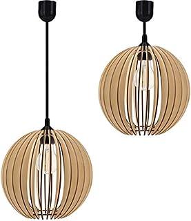 Lámpara de techo colgante de madera, diferentes variantes, casquillo E27, estilo retro, vintage, lámpara de madera, serie VDA (lámpara colgante VDA-ZO1)