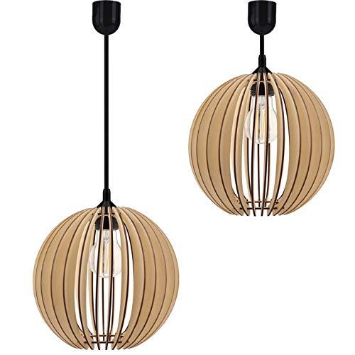 Hängelampe Deckenlampe Pendelleuchte aus Holz verschiedene Varianten Fassung E27 Retro Vintage Holzlampe Leuchte Beleuchtung aus Serie VDA (Hängelampe VDA-ZO1)