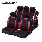 Jeu de housses de siège universelles pour absorbant rouge/noir, antidérapant,...