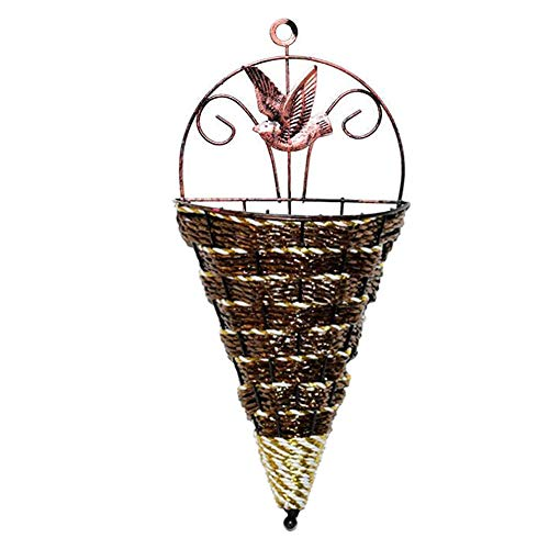 Wall Hanging Flower Baskets Wicker Woven Wall-Mounted Plant Pot Holder Cone Storage for Home Garden Brown