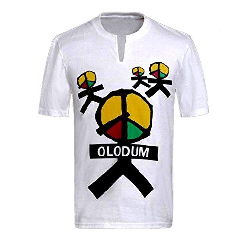 Herren T-Shirt Michael Jackson Shirt Anti-Krieg Beat Klavier Baumwolle Tee Kurzarmshirt Erwachsene und Kinder Weiß Men T-Shirt (Olodum, XL)