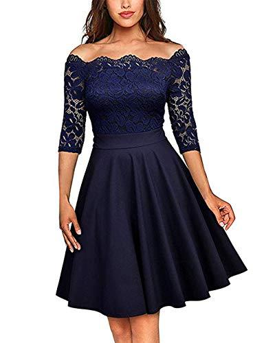 Viloree 50s Rockabilly Retro Damen Kleider Halbarme Swing Cocktailkleider Party Abschlussball Navy XL