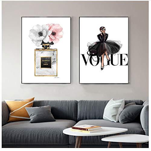 QIAOB Mural de Lienzo, Lienzo de Vestido Negro de Moda, Perfume artístico de Pared nórdico con Estampado de Flores, Cuadro Decorativo sin Marco