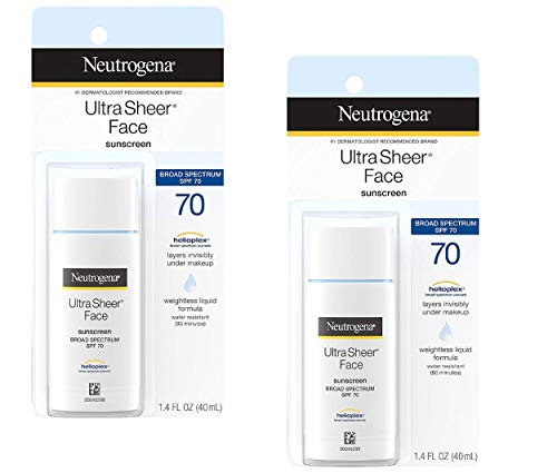 Ultra Sheer Liquid Daily Facial Sunscreen with Broad Spectrum SPF 70, Non-Comedogenic, Oil-free & PABA-Free Weightless…