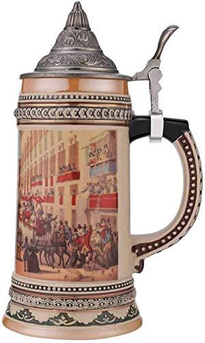 ZHAO Cakunmik Jarra de Cerveza de cerámica, Taza con Tapa de Metal, la Taza de café Creativa, Taza de la Bebida