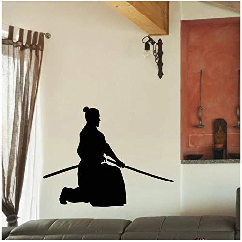 KBIASD Pegatina Samurai calcomanía cartel vinilo arte pared calcomanías Guerrero decoración Mural Kendo pegatina 112x86cm