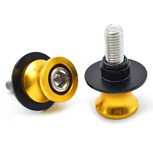 2pcs Universal CNC Diabolos M8*1.5 Basculante de Deslizadores Tornillos del Soporte para Kawasaki Z900 Z800 Z1000 Z650 ZX10R ZX6R/ S1000RR S1000R S1000XR/ CBR250R CBR600RR CBR900RR CBR954RR (Oro)